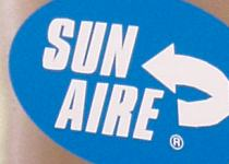 Close up view of Sun Aire logo